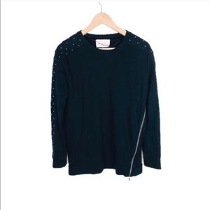 Two by Vince Camuto Zipper Beaded Sweater Top